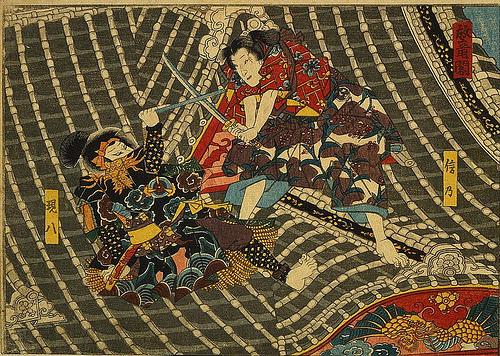 Японская картина - Бой двух самураев